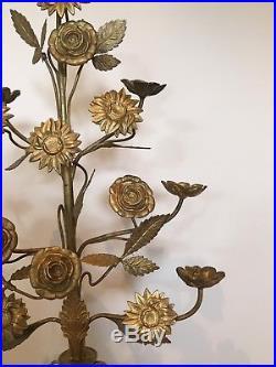 Antique vintage French Alter Flower Candelabra Church Religious Decorative