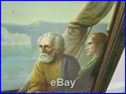 Antique vintage huge Jesus lithograph in original frame bible religious art deco
