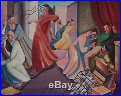 Augustus Lunn British Surrealist Religious 1930's Painting Jesus Art 1905-1986