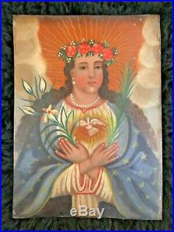 Authentic Mexican Retablo Antique Painting Alma de Maria Mary Spanish Colonial