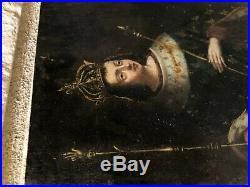 Authentic Mexican Retablo Copper Painting Antique San Luis Rey Spanish Colonial