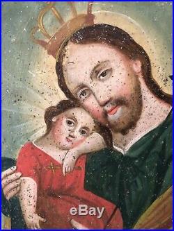 Authentic Mexican Retablo Painting 19th C Antique San Jose St Joseph Niño Jesus