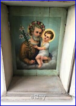 Beautiful Antique Catholic Altar Religious Cabinet Unique Interior Art Curio