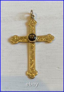 Beautiful Etched Antique Sapphire 14k Gold Large Estate Cross Religious Pendant