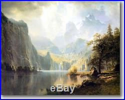 Bierstadt In the Mountains Timeless Antique Gold Frame Canvas Giclee Repro 42x30