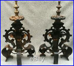 Big antique pair of andirons made of bronze France 19th century angels religious