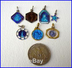 Blue Enamel Medals Antique French Religious Pendants charms Lot