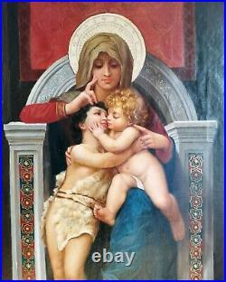 Bouguereau Virgin & Child Jesus Religious Saint 19thC Large Antique Oil Painting