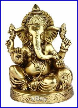 Brass Ganesha Statue Sitting Ganesh Idol Elephant God religious Home Decor 6