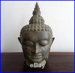 Buddha head bronze hand crafted with an antique finish, life size, 430mm high