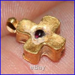 Byzantine Christian Religious Gold Cross Pendant With Gem Stone Ca 700-1000 Ad