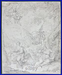 C. 1600s antique French old master drawing The Dream of St. Joseph