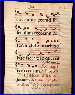 C. 1650 ANTIPHONAL VELLUM MUSIC MANUSCRIPT Double-sided Red Black Latin Religious