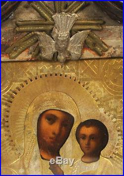 Ca1890 ANTIQUE RUSSIAN ORTHODOX RELIGIOUS ICON TIKHVIN MADONNA OKLAD KIOT