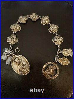 Catholic Charm Bracelet Sterling Silver Vintage Saints Mary Jesus 8 40g Antique