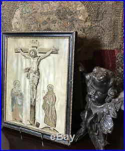 Charles II Embroidery Religious Gothic Devotional Silk Christ on Cross 1665