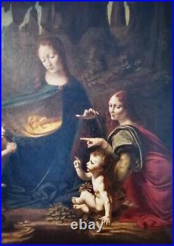 Da Vinci Italian Renaissance Old Master Madonna Saint Large Antique Oil Painting