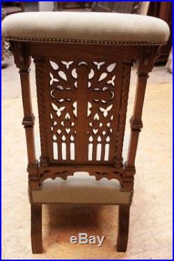 Elegant Antique French Prayer Chair or Kneeler, Oak, 19th Century, Religious