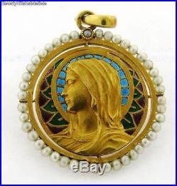 Exquisite Antique Art Nouveau French Pliq A Jour Religious Pearl 18kGold Pendant
