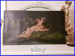 FABULOUS RARE! Antique Oil Painting ROSES Cherub ANGEL Putti BIRDS Signed