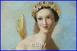 FAIRY DANCING IN FLORAL LANDSCAPE ANTIQUE BEAUTIFUL OIL PAINTING (c. 1850)