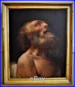 FINE ANTIQUE OLD MASTER RELIGIOUS OIL ON CANVAS PAINTING Possibly of ST JEROME