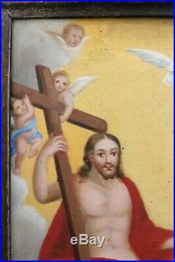 Fabulous Antique 19th Century European HOLY TRINITY Religious Painting On Canvas