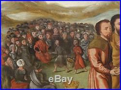 Fine 16th Century Flemish Christ Feeding The 5000 Multitude Antique Oil Painting