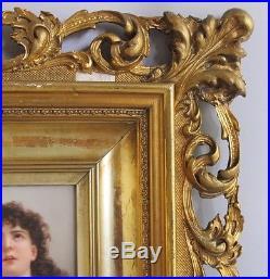 Fine 19th C. Gilt Framed Royal Vienna Porcelain Plaque c. 1890 antique painting