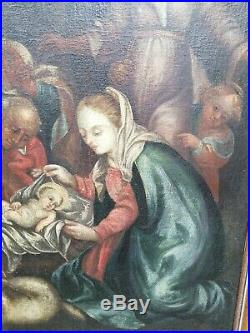 Fine Antique Large German Holy Family Madonna And Child Religious Oil On Canvas