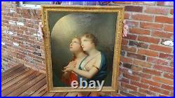 Fine Antique Religious Oil Painting Partially Nude Young Girls Heavenly Light