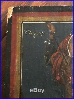 Fine Antique Signed Painting On Board Saint George The Dragon Slayer