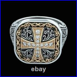 Fine Jewelry 14 Kt Real Solid White Gold Cross Antique Men'S Ring Size 9,10,11