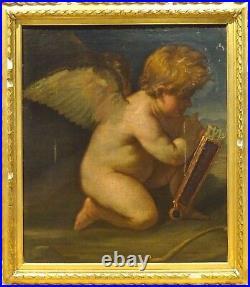 Fine Large 17th Century Italian Od Master Cupid & Arrows Antique Oil Painting