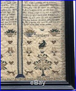 Fine Quality Victorian Antique Sampler Religious text spot motifs. Saunders 1836