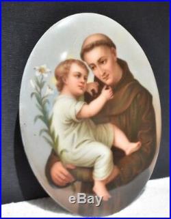 Firenze Porcelain Hand painted Religious Monk 7 by 5 3/8 convex plaque oval Kpm