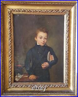 French Antique Painting Étienne Bouchardy (1797-1849) Portrait of Boy