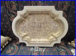 French Antique Religious Art Jesus Child And Sphinx Wall Plaque Relief