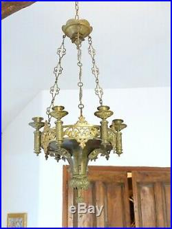 French Church Bronze & Brass Chandelier candle holders Religious neo gothic 19TH