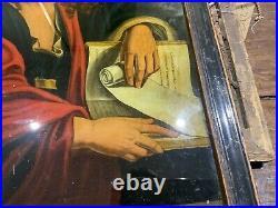 Georgian Reverse Painted Religious Mezzotint St John The Baptist