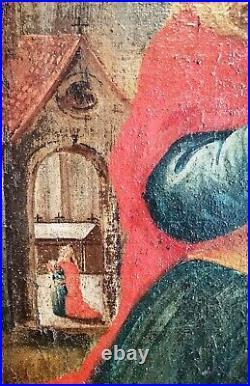 German Renaissance Religious Old Master Saints 1400's Large Antique Oil Painting