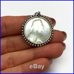 Gorgeous Antique 18K Yellow Gold and Mother of Pearl Virgin Religious Pendant