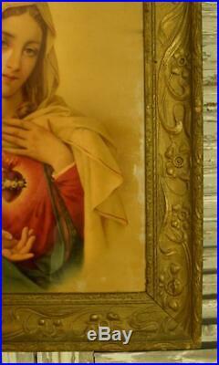 Gorgeous Antique French Religious Print, Mary & Sacred Heart, Art Nouveau Frame