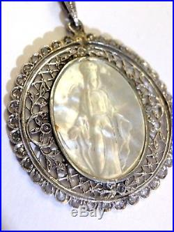 Gorgeous Antique Platinum Rose Cut Diamond Mother of Pearl Religious Pendant