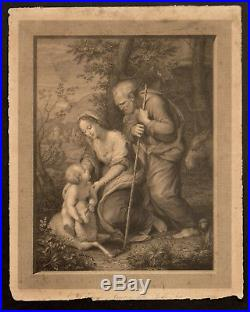 HOLY FAMILY WITH THE LAMB 1817 Giovita Garavaglia Raphael ANTIQUE ENGRAVING