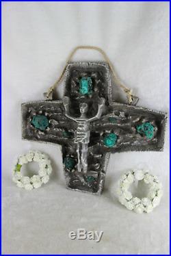 HUGE Rare BRUTALIST Stoneware malachite stones Crucifix cross religious christ