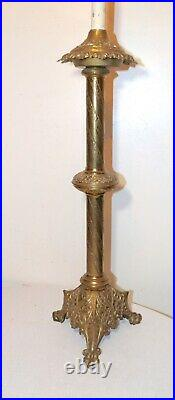 HUGE antique ornate brass religious Catholic Church candle holder table lamp
