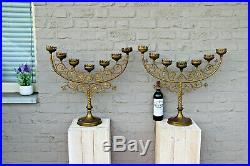 HUGE pair French church altar candelabras Candle holders religious top piece
