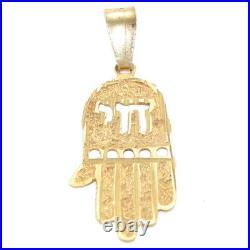 Hand Carved Hamsa Charm Chai Antique Victorian Bracelet Charm 14k Yellow Gold