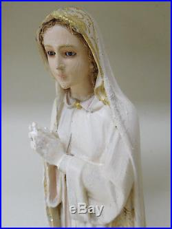 Hand Carved Madonna Virgin Mary Fatima Statue Icon Religious Antique Glass Eyes